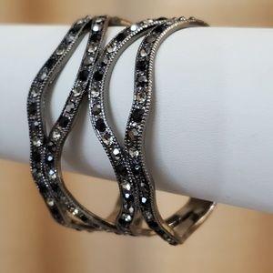 LOFT Black Sequin Cuff Bracelet #506